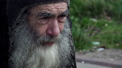 Economic crisis: old poor man living in the street, rejected elderly man  Stock Footage
