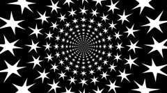 Concentric, dashing, rotating, abstract symbols, snowflakes. Stock Footage