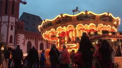 Carousel at Frankfurt Christmas Market 4k Stock Footage
