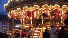 Riders on Carousel at Frankfurt Christmas Market 4k Stock Footage