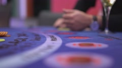 Gambling Black Jack in a casino - making bets Stock Footage
