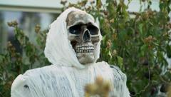 Scary skull Halloween decoration outside of home 4k Stock Footage