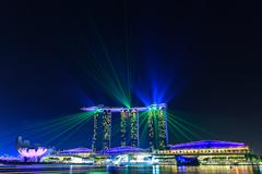 Laser light at Marina Bay Sand in night scene, Singapore - stock photo