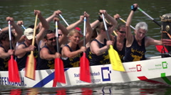 Stadtwerke Offenbach team in rowing competition 4k Stock Footage