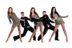 Cabaret dancer team dancing.  Isolated on white background in full length Stock Photos