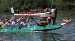 Verkehrs Gesellschaft Frankfurt in rowing competition 4k Stock Footage