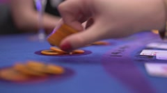 Gambling Black Jack in a casino - win pay out with gambling chips - stock footage