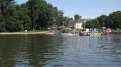 Start of row boat race in Main river Offenbach Germany 4k - stock footage