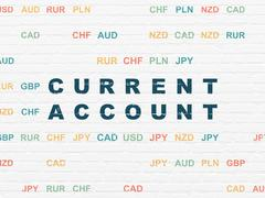 Currency concept: Current Account on wall background Stock Illustration