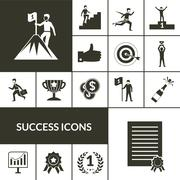 Success Icons Black Set Stock Illustration