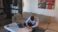 White businessman writing, indoor view business people home, busy day, freelance - stock footage