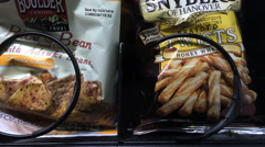Pretzel braided twists purchased from vending machine Stock Footage