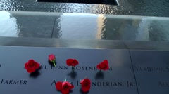 New York City 450 Manhattan nine eleven memorial light goes on in south pool Stock Footage