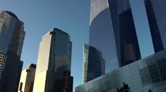 New York City 445 slow pan right between towers in Manhattan financial district Stock Footage