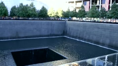 Stock Video Footage of New York City 441 nine eleven memorial water surface at border of pool