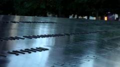 New York City 440 Manhattan nine eleven memorial border of south pool Stock Footage