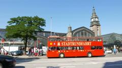 4K UHD Hamburg Sightseeing Tour Bus at Train station Germany Stock Footage