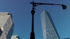 New York City 437 Manhattan downtown One World Trade Center and lantern Stock Footage