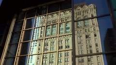Stock Video Footage of New York City 436 Manhattan financial district old building mirror image