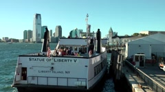 New York City 427 Manhattan Statue of Liberty ferryboat at Pier A south ferry - stock footage