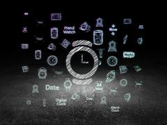 Time concept: Watch in grunge dark room Stock Illustration