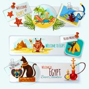 Egypt Touristic Banner Set - stock illustration