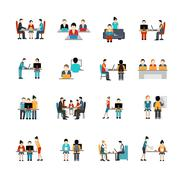Coworking Space Icons Set Stock Illustration