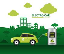 Electric Car Print Stock Illustration