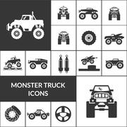 Monster Truck Icons Set Stock Illustration