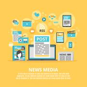 News media flat icons composition poster - stock illustration
