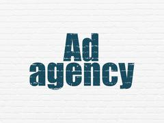 Stock Illustration of Marketing concept: Ad Agency on wall background