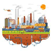 Industrial City Concept With Chemical Plants - stock illustration