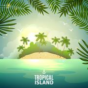 Tropical island nature poster - stock illustration
