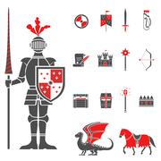 Medieval knights black red icons set - stock illustration