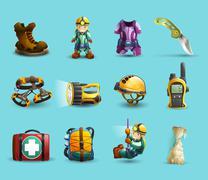 Speleology 3d icons set Piirros