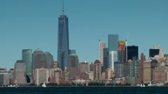 USA New York City 412 Financial District with One WTC seen from Liberty Island - stock footage