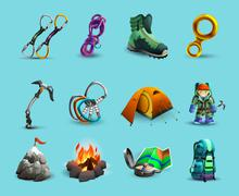 Alpine mountains climbing 3d icons set Stock Illustration