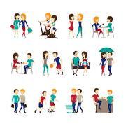 Friends Icons Set - stock illustration
