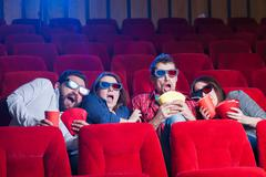 The people's emotions in the cinema - stock photo