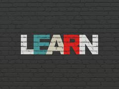 Education concept: Learn on wall background Stock Illustration
