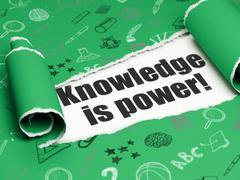 Studying concept: black text Knowledge Is power! under the piece of  torn paper - stock illustration