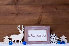 Christmas Card With Blue Decoration, Danke Mean Thanks, Snow - stock photo