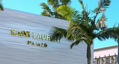 4K, UHD, Saint Laurent Luxury Shop on Rodeo Drive, Beverly Hills, Los Angeles Stock Footage