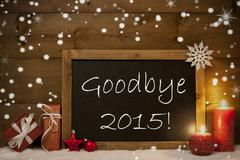 Christmas Card, Blackboard, Snowflakes, Candles, Goodbye 2015 Stock Photos