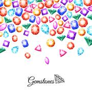 Gemstones Background Illustration - stock illustration