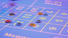 Roulette table in a casino - collecting and removing lost tokens Stock Footage