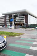 European Union Flag flies at half-mas Agora building Stock Photos