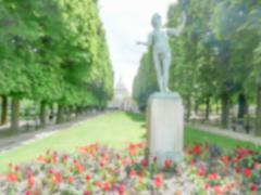 Defocused background of the Luxembourg Garden in Paris, France - stock photo