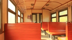 Inside of carriage of electric train Stock Footage