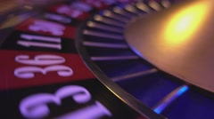 Perspective close up view on Roulette Wheel in a casino Stock Footage